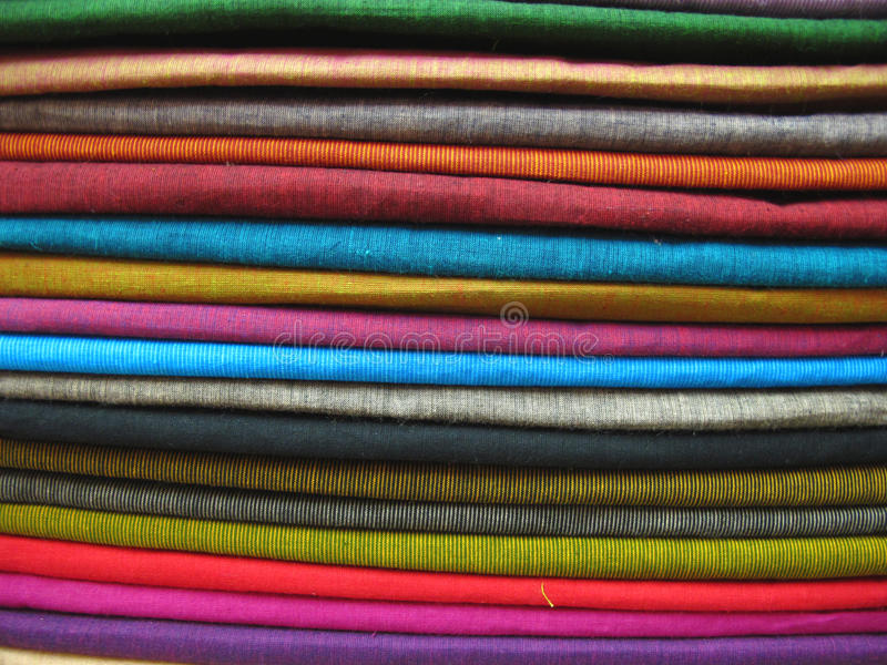 Colorful Fabrics 1. Stack of colorful cotton fabrics royalty free stock image