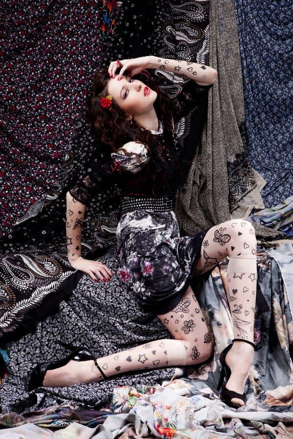 Download Colorful fabrics stock image. Image of pretty, pose, portrait - 22733625