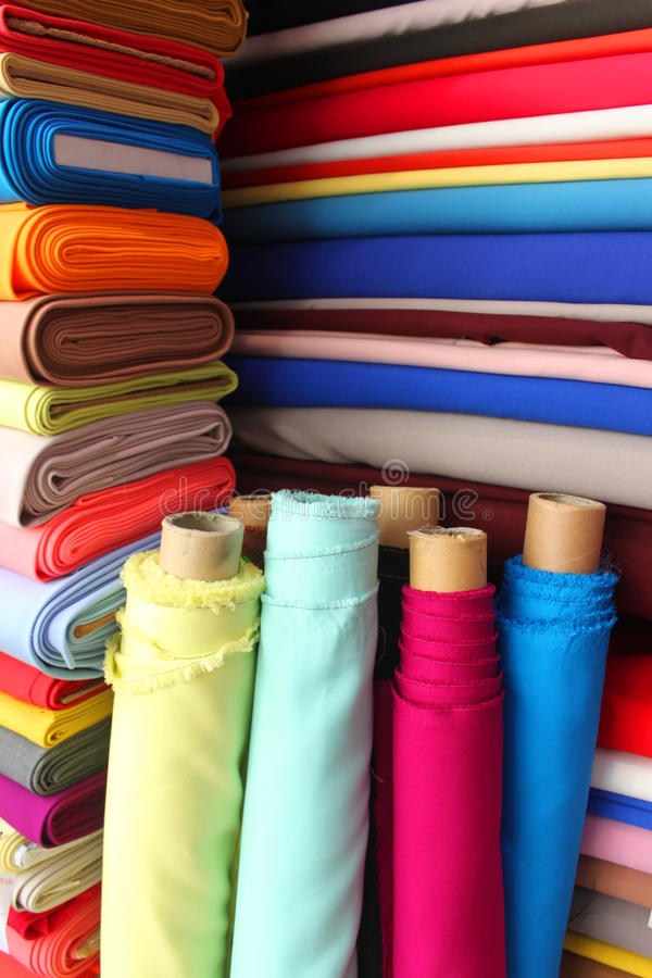 Colorful fabrics royalty free stock photo