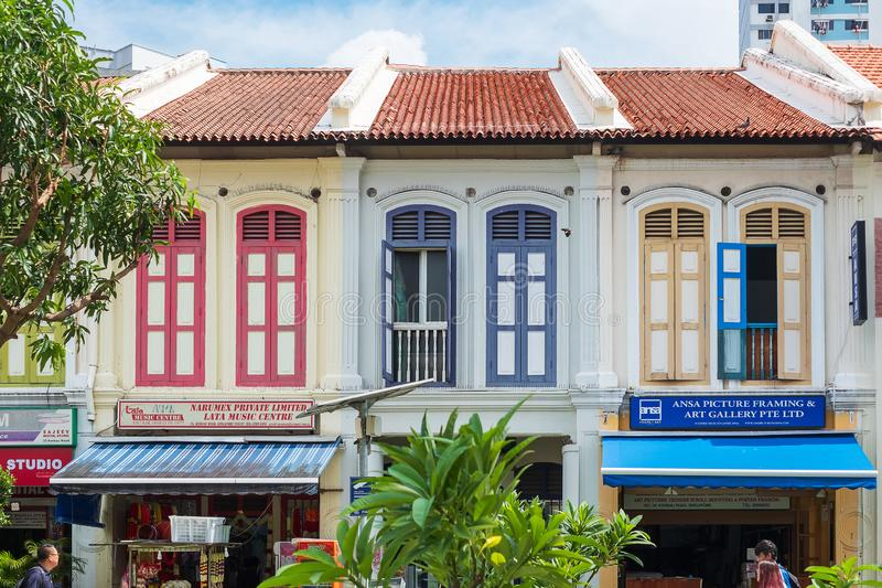 Colorful facade architecture building in India district, landmark and popular for tourist attractions in Singapore . Little India royalty free stock images