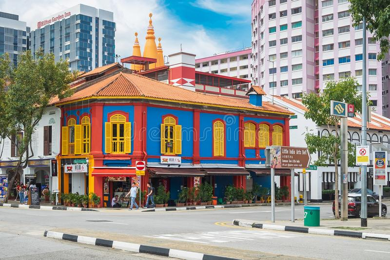 Colorful facade architecture building, Vibrant color of wooden windows in Little India district, landmark and popular for tourist royalty free stock image
