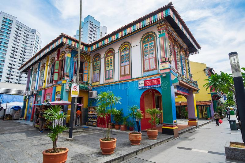 Colorful facade architecture building, Vibrant color of wooden windows in Little India district, landmark and popular for tourist royalty free stock photo