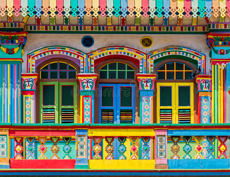 Colorful facade of building in Little India. Singapore royalty free stock photos