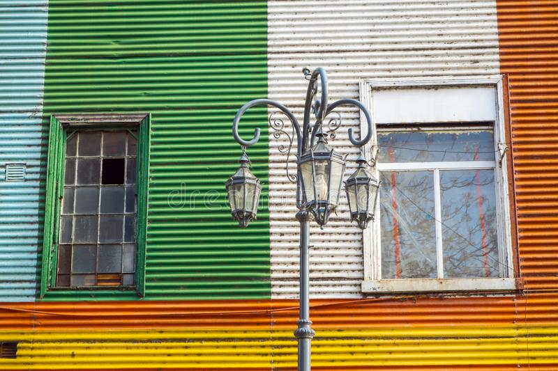Colorful facade in the famous la Boca district. In Buenos Aires, Argentina royalty free stock photos