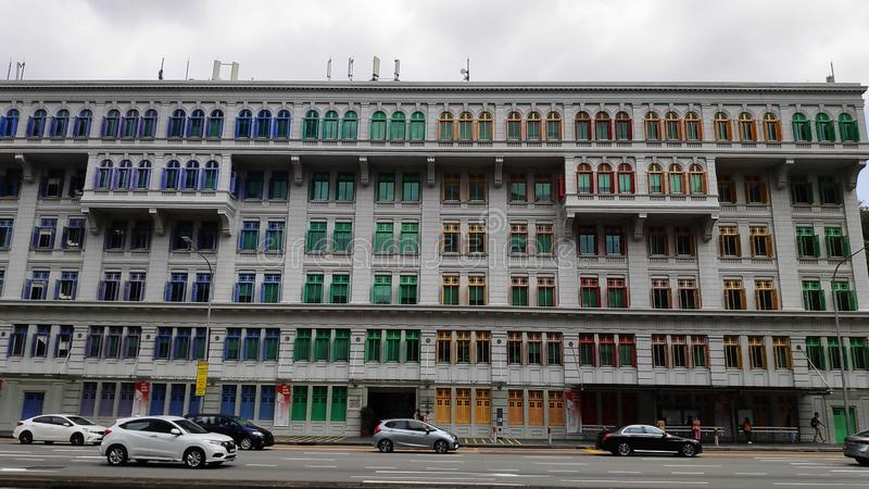 Colorful facade of the Old Hill Street Police Station in Singapore stock photo
