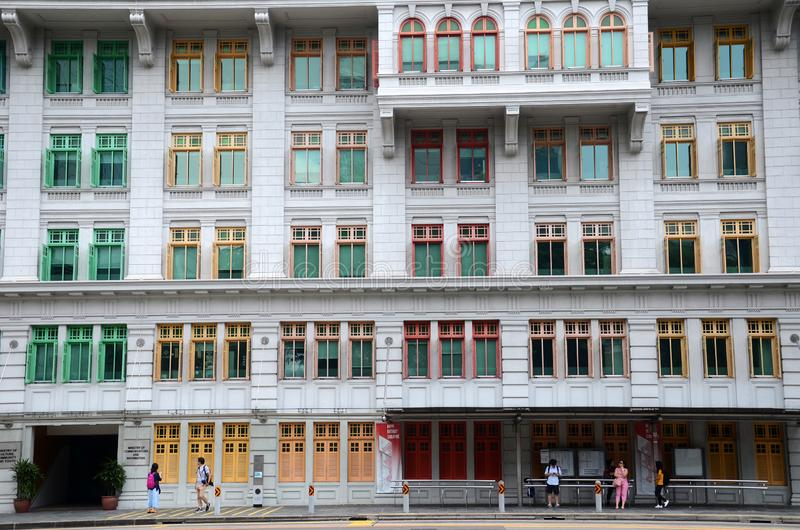 Colorful facade of the Old Hill Street Police Station in Singapore royalty free stock photography
