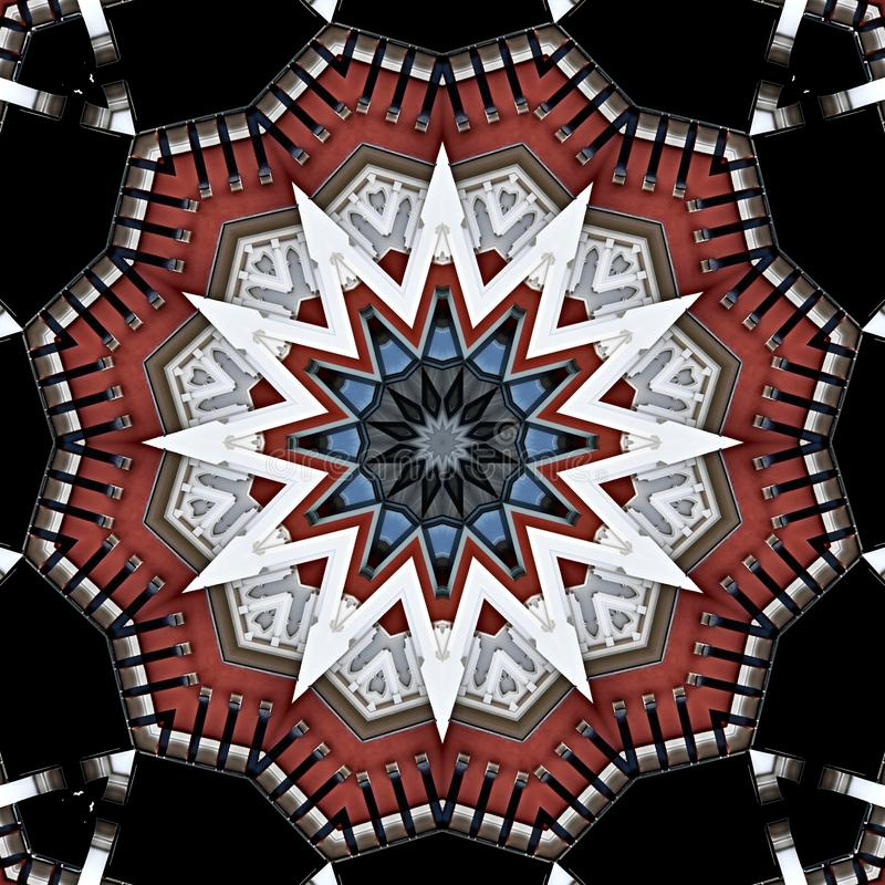 Digital art design, colorful facade seen through kaleidoscope. Colorful facade seen through kaleidoscope, seamless pattern in different brown royalty free illustration