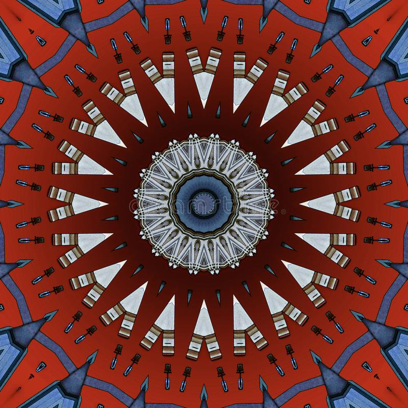 Digital art design, colorful facade seen through kaleidoscope. Colorful facade seen through kaleidoscope, seamless pattern in different red brown and grey vector illustration