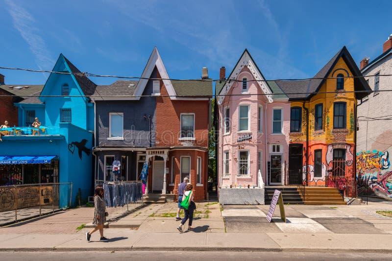 Colorful facades on Kensington Avenue in Toronto 2019 royalty free stock photos