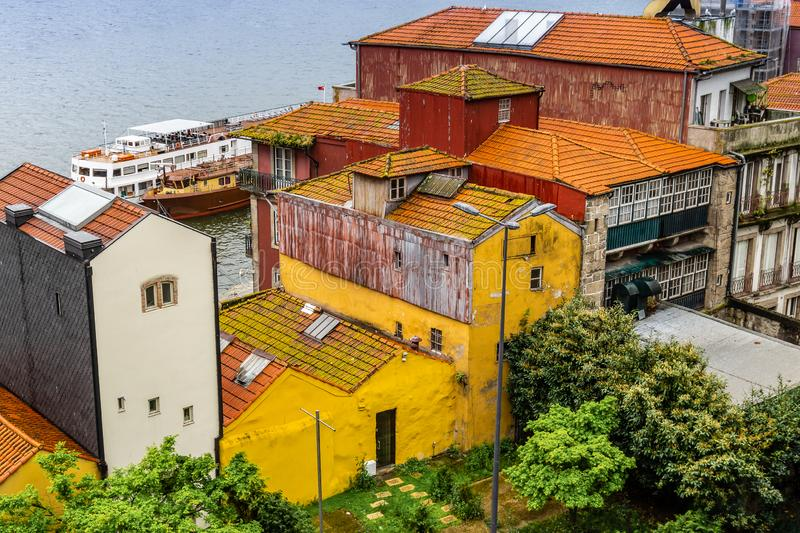 Colorful facades of old houses in Porto, Portugal royalty free stock photography