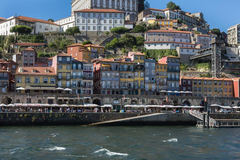 Colorful Facades of Typical Houses on the Bank of the River Dour. Old Town Skyline from Across the Douro River: Typical Colorful Facades - Porto, Portugal stock photo