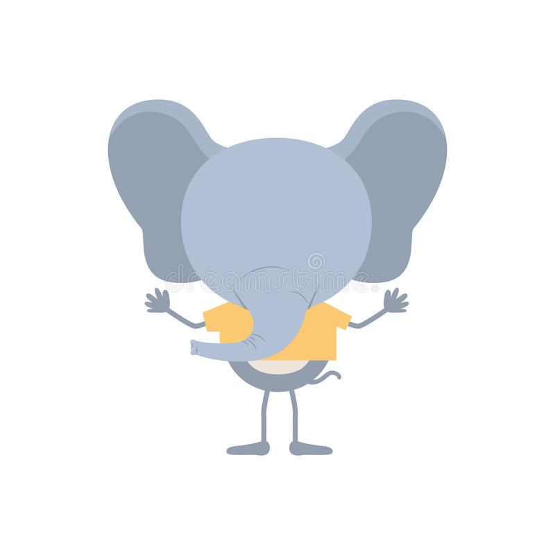 Colorful faceless caricature of elephant with t-shirt stock illustration