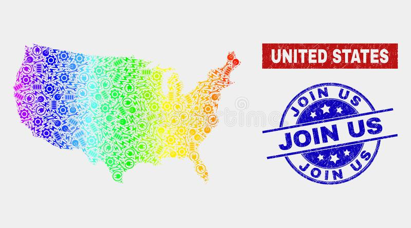 Colorful Factory United States Map and Scratched Join Us Stamps royalty free illustration