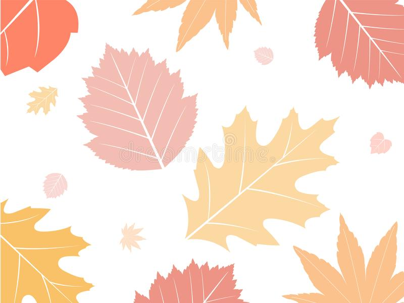 Fall leaves background. Colorful fall leaves background, autumn leaves blowing in the wind royalty free illustration