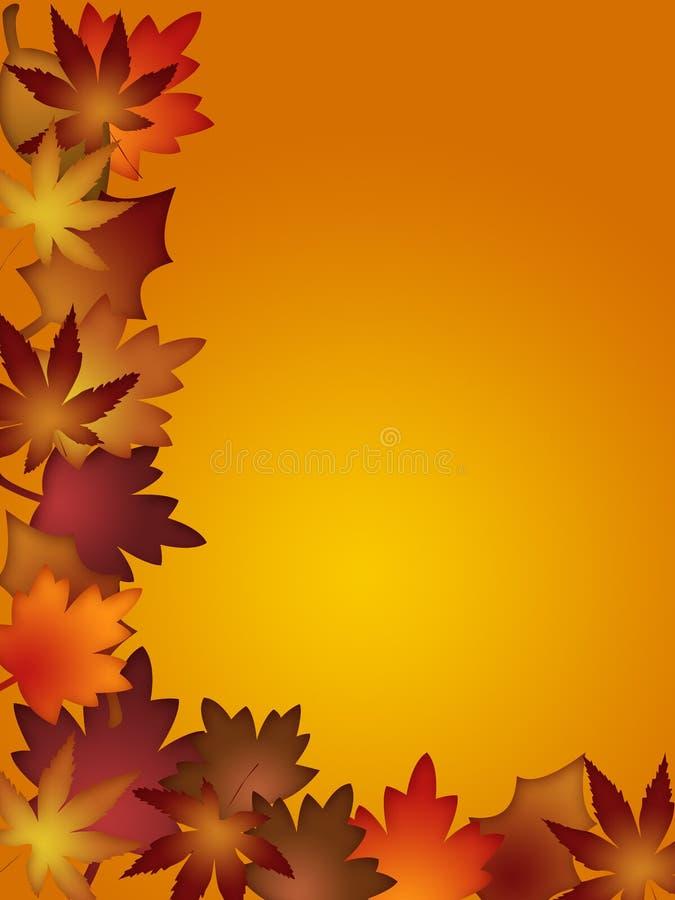 Colorful Fall Leaves Border. Background Illustration stock illustration