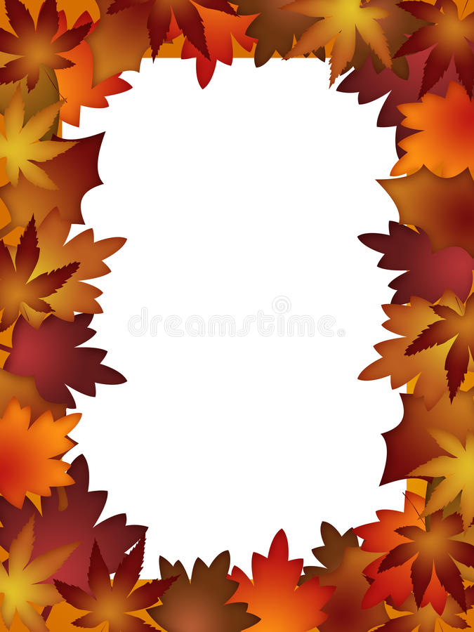 Colorful Fall Leaves Border over White vector illustration