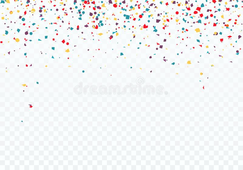 Colorful falling confetti. Top of the pattern is decorated with confetti. Vector illustration isolated on transparent background.  vector illustration