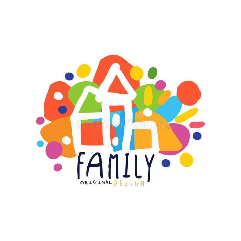 Colorful family logo design with city houses. Colorful family logo original design with city houses. Label for family medicine practice, group, market or shop royalty free illustration