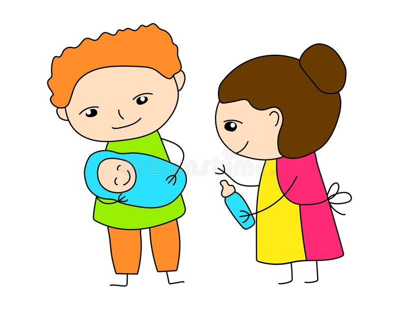Colorful family scene vector illustration on white background. Mom dad with baby toddler. Cute character outlined icon. Colorful family scene vector illustration royalty free illustration