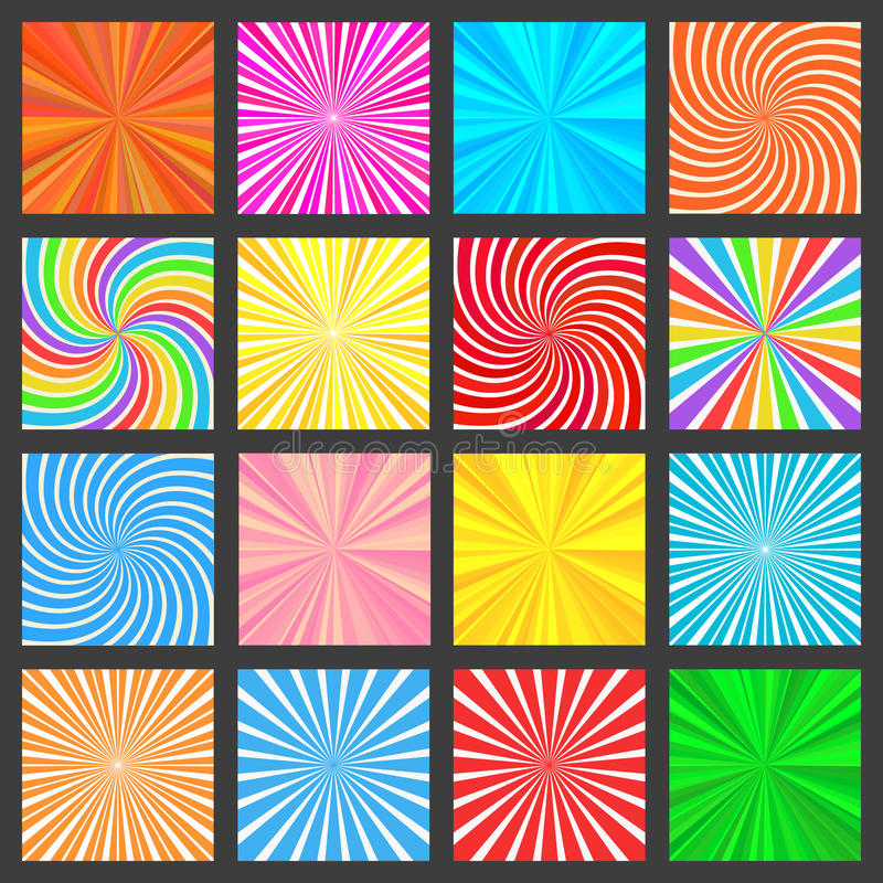 Colorful Fanning Rays Backgrounds Set vector illustration