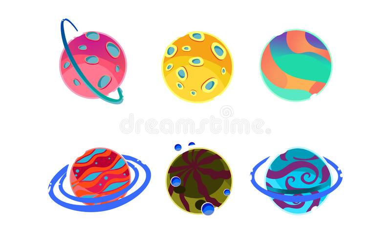 Colorful fantasy alien planets set, cosmic details for game design vector Illustration on a white background royalty free illustration