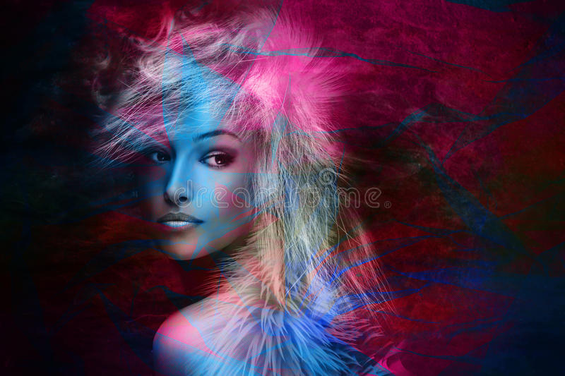 Colorful fantasy beauty. Fantasy colorful beautiful young woman portrait stock photos