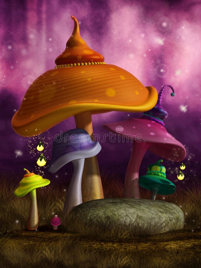 Colorful fantasy mushrooms with lanterns royalty free illustration