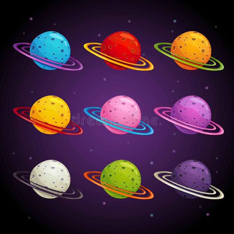 Colorful fantasy planets set. Vector space icons stock illustration