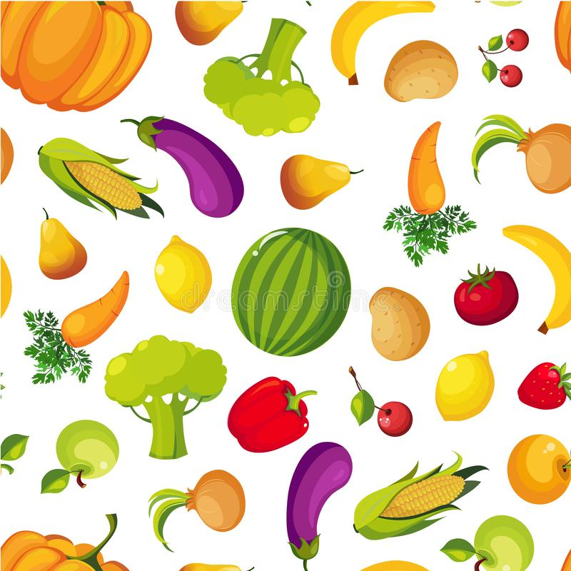 Colorful Farm Fresh Fruit and Vegetables Seamless Pattern, Healthy Food Vector Illustration. Organic, Natural Background vector illustration