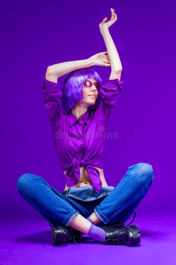 Colorful fashion beauty sexy skinny woman stock photo