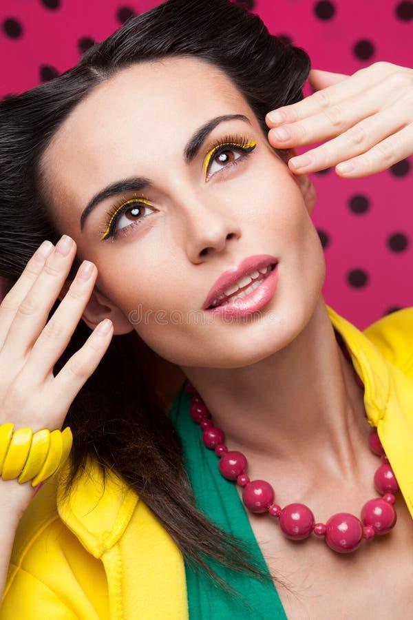 Colorful fashion shot of model stock photos