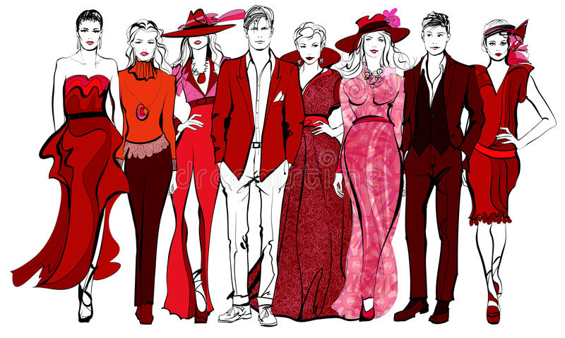 Colorful fashion women and men defile vector illustration
