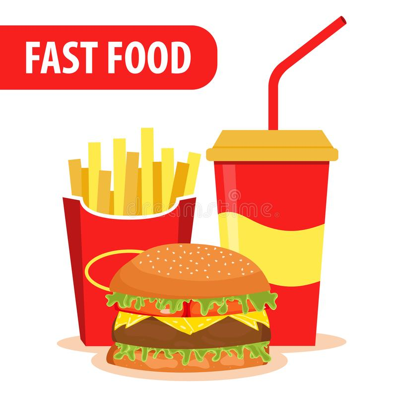 Colorful Fast food vector isolated on white background. Fast food hamburger dinner and restaurant. Lunch with Hamburger stock illustration
