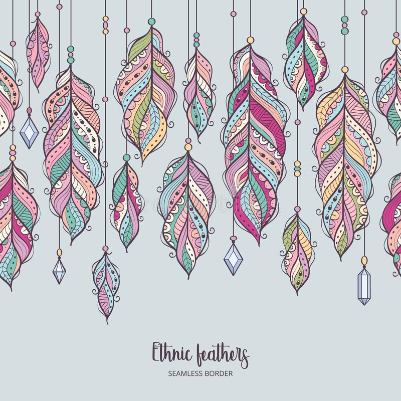 Colorful feather background in bohemian style. royalty free illustration