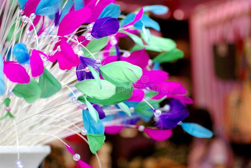 Colorful feathers fashion background stock image