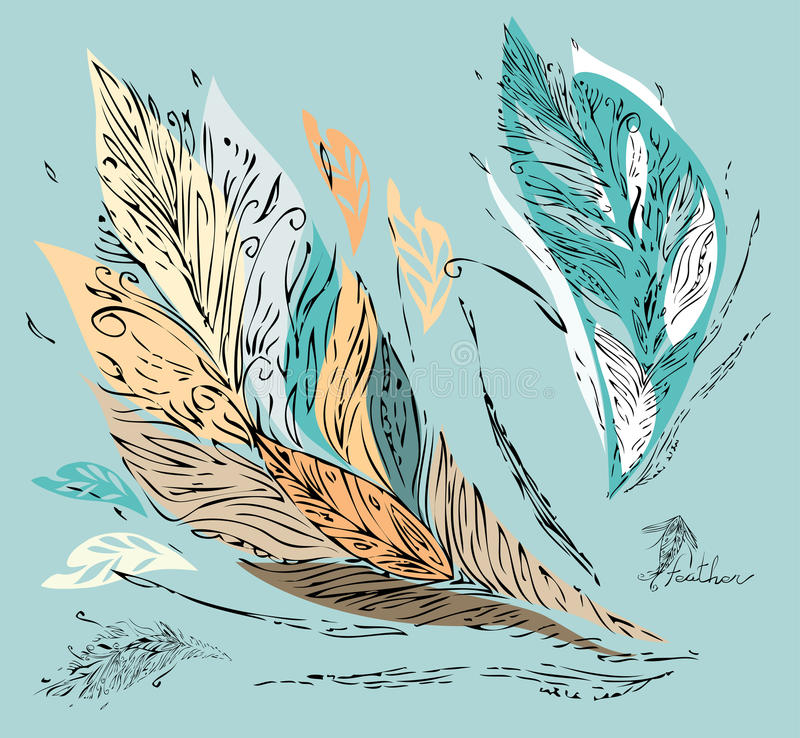 Colorful feathers - leaves royalty free stock photos