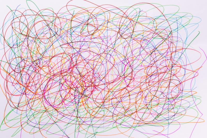 Colorful felt tip pen scribble on white paper. stock images
