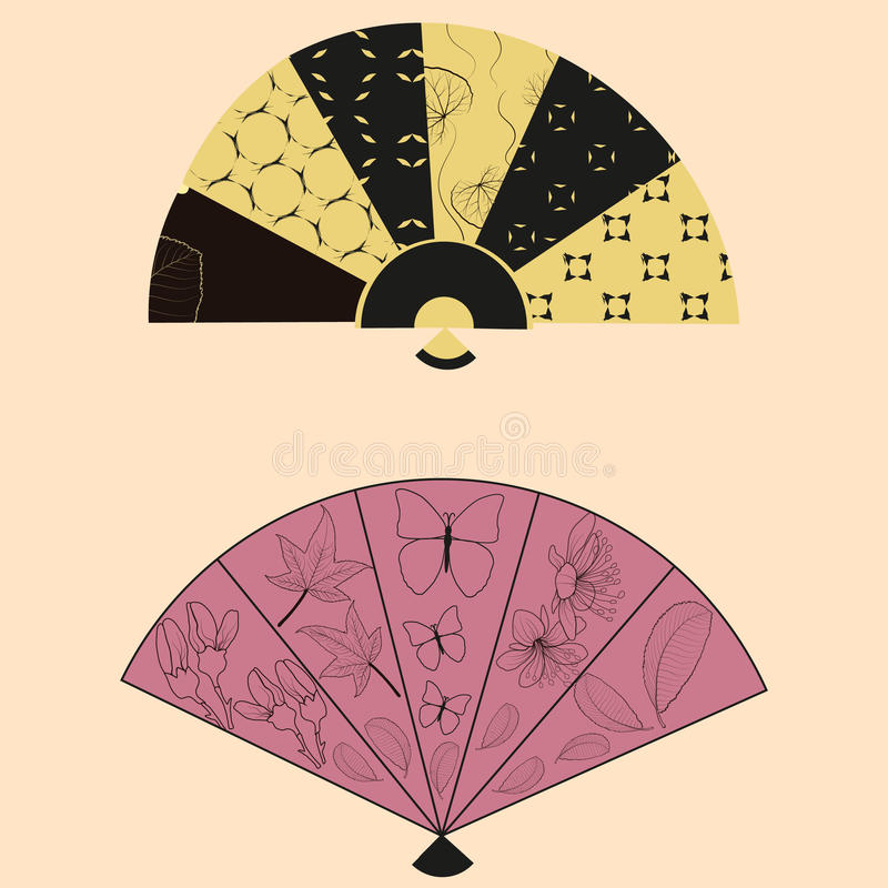 Colorful female hand fans.Vector illustration. royalty free illustration