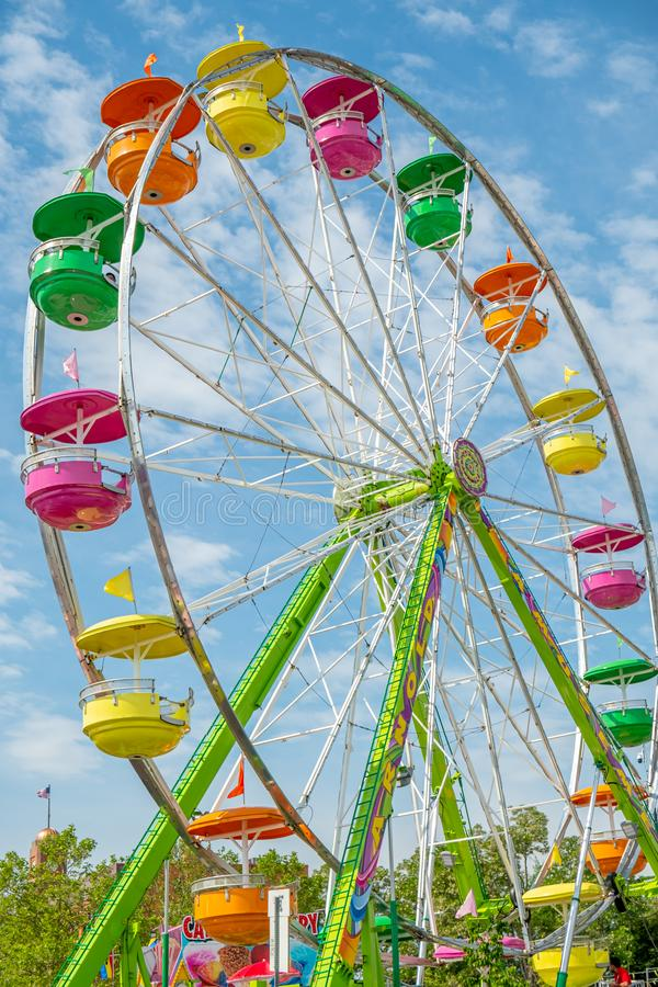 Colorful Ferris Wheel amusement ride. Part of the National Cherry Festival in Traverse City, Michigan, USA royalty free stock images