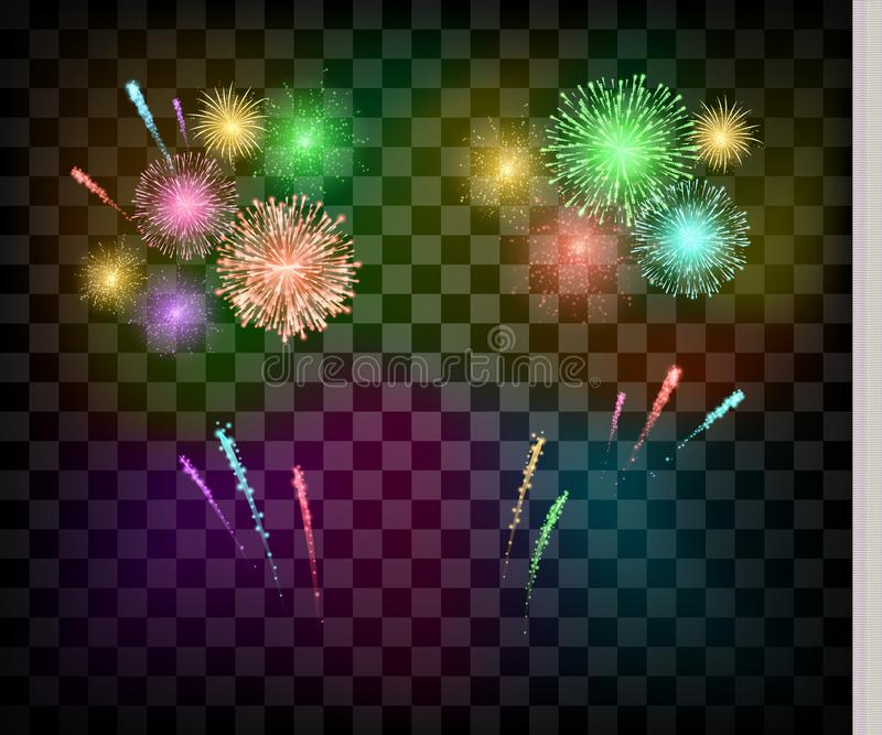 Colorful Festival fireworks. banner for Diwali or Christmas an ather holiday and event. Vector illustration royalty free illustration