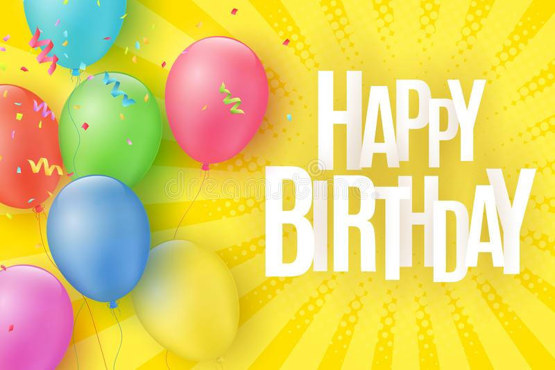 Colorful festive balloons on a cartoon yellow background with halftone and rays. Inscription Happy birthday. Burst of confetti. Gr royalty free illustration