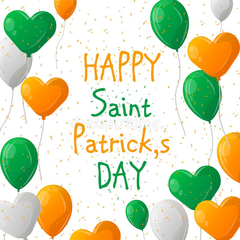 Colorful festive bunting with clover andballoons on white background. Irish holiday - happy Saint Patrick`s Day. Vector vector illustration