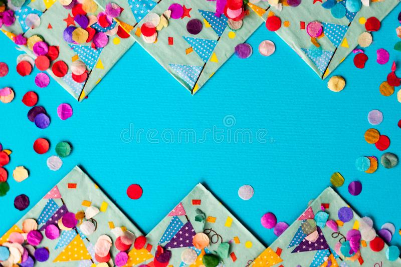 Colorful festive confetti Flat lay background frame Card for birthday Party, festival or carnival stock image