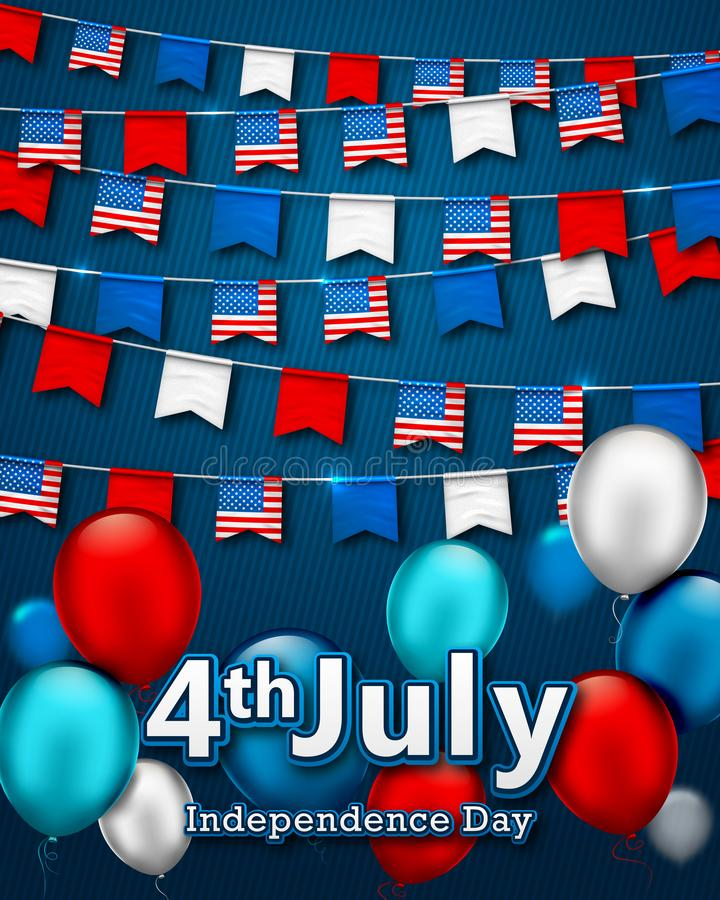 Colorful festive garlands of flags, bunting of USA pennant. Vector banner 4th of July, American Independence Day. Patriotic stock illustration