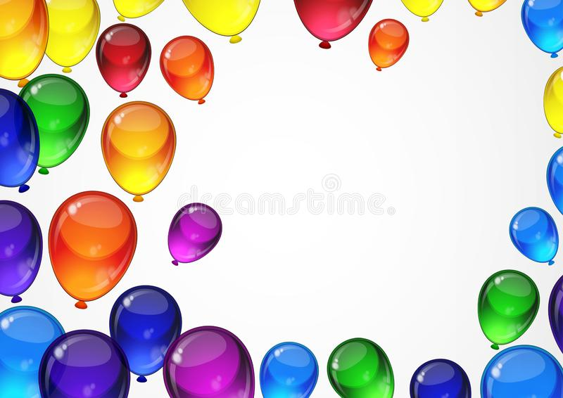 Colorful festive vector balloons on a white background for celebration, holiday, birthday party card with space for you text. A4. Layout royalty free illustration
