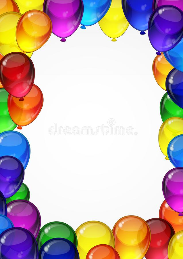Colorful festive vector balloons on a white background for celebration, holiday, birthday party card with space for you text. A4. Layout vector illustration