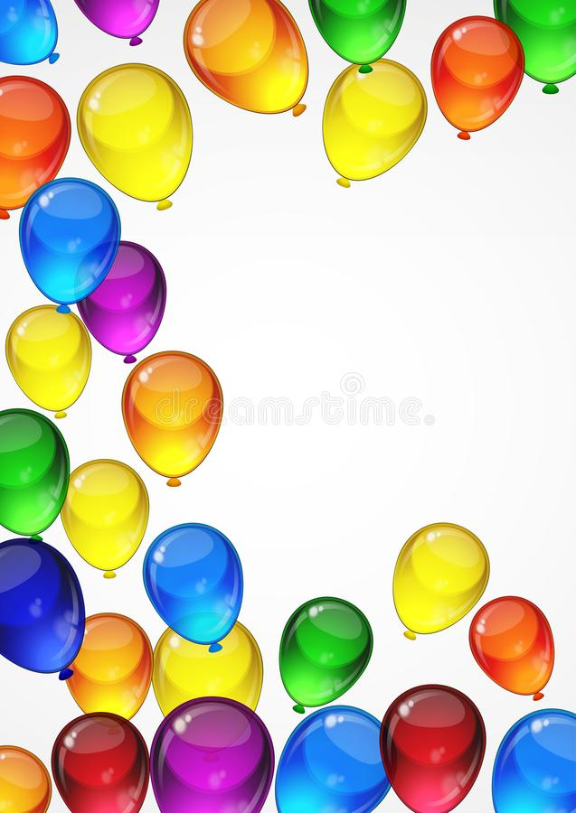 Colorful festive vector balloons on a white background for celebration, holiday, birthday party card with space for you text. A4. Layout stock illustration