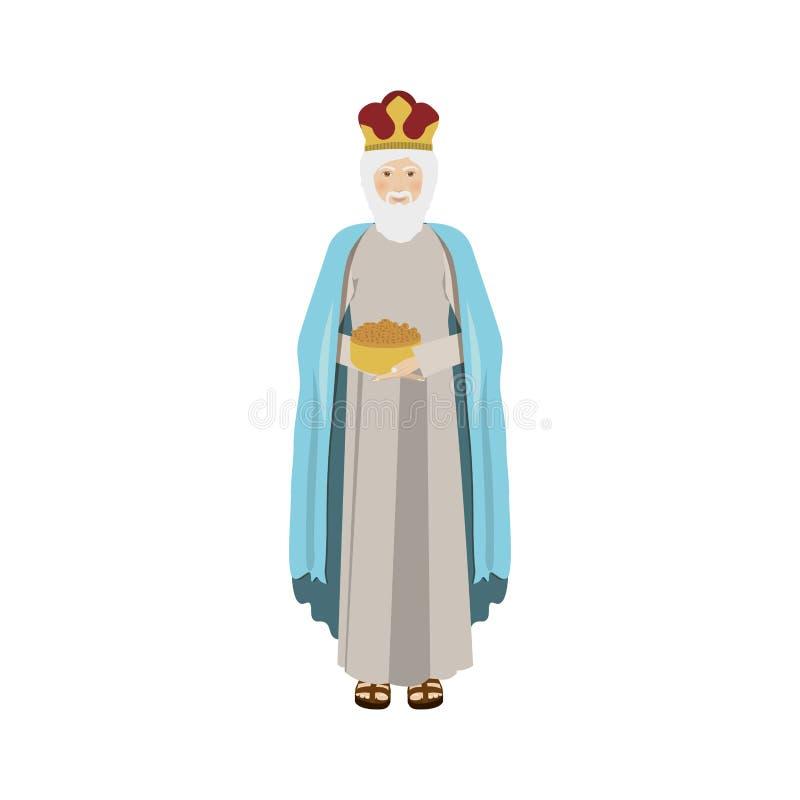 Colorful figure human a wise man gaspar. Vector illustration stock illustration
