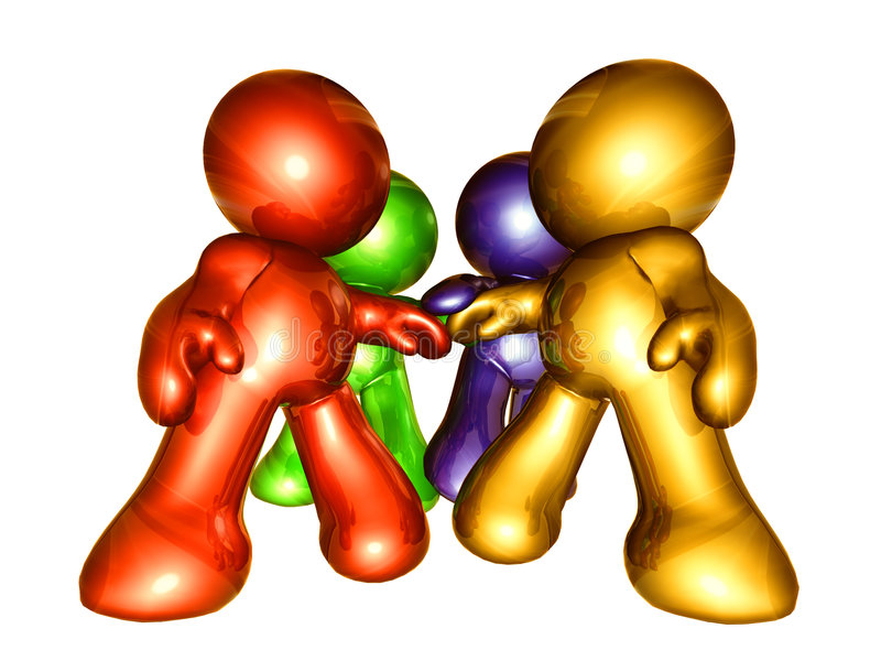 Colorful figures holding hand together royalty free illustration