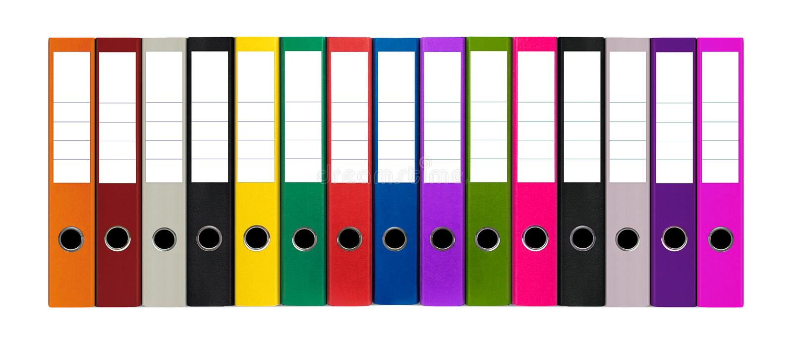Colorful files. Various colorful files against white background